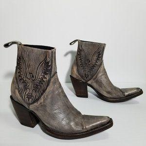 Old Gringo Gray Leather Cowboy Boots w/ Phoenix